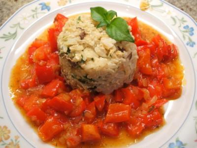 Reis: Reistörtchen auf Peperonata - Rezept
