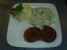 Bratwurstschnecken mit Kartoffelpürre und Kohlrabigemüse - Rezept
