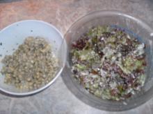 Lollo Rosso-Salat und Erbsensalat - Rezept