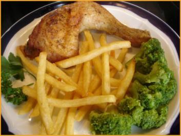Hähnchenkeule mit Brokkoli und Pommes frites - Rezept