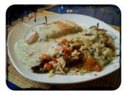 Fisch: Deftiger Kabeljau mit Gemüsereis und Limette-Kerbel-Soße - Rezept