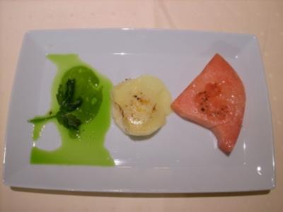 Gegrillte Wassermelone mit warmem Ziegenkäse - Rezept