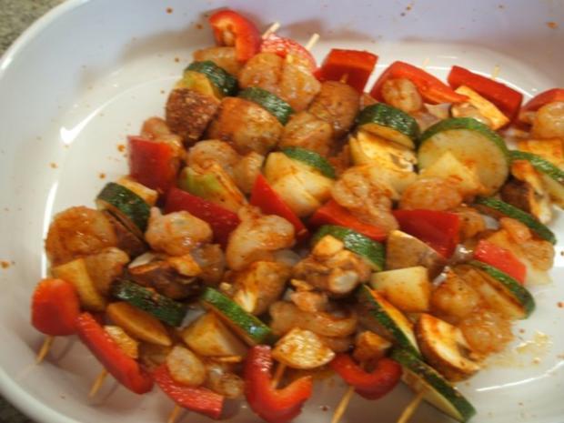Fisch: Garnelenspieße mit Gemüse - Rezept