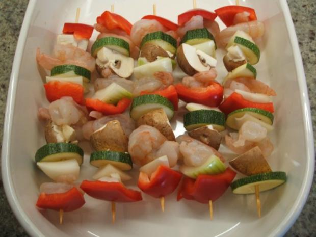 Fisch: Garnelenspieße mit Gemüse - Rezept - Bild Nr. 3