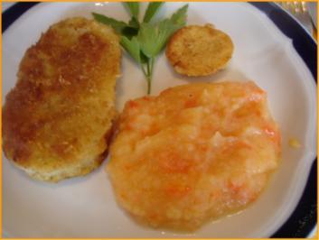 Kohlrabischnitzel mit Paprika-Kartoffelpüree und Friseesalat - Rezept