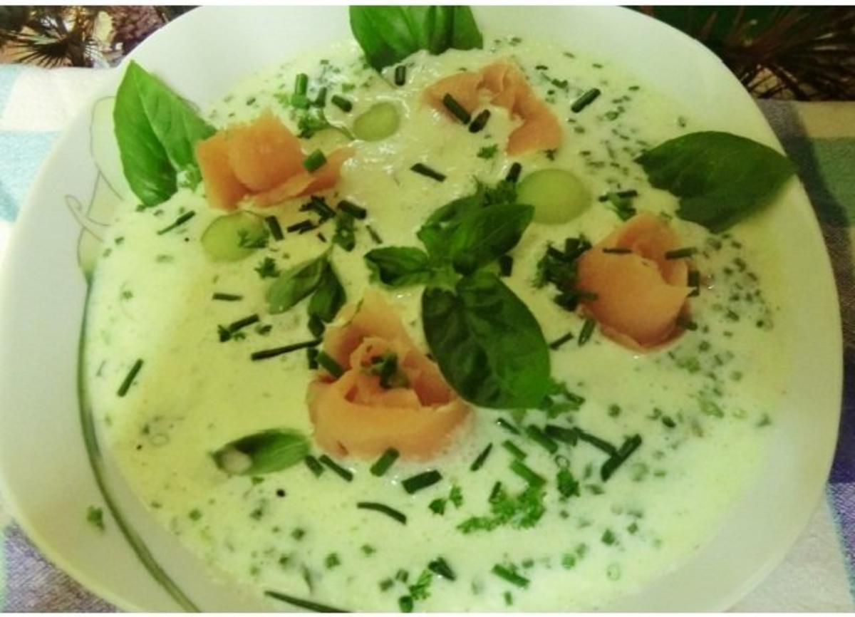 Kalte gurken suppe mit melone wasabi u r ucherlachs rosen rezept - Wurstplatten dekorieren ...