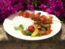 Marinierte Hähnchenspieße mit Schmorgemüse - Rezept