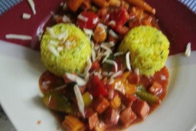 Leberkäsepfanne mit Paprika und Reis - Rezept