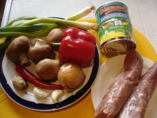 Schweinefilet im Wok mit Reis und Salat - Rezept - Bild Nr. 2