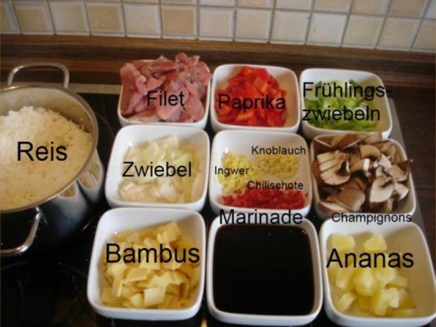 Schweinefilet im Wok mit Reis und Salat - Rezept - Bild Nr. 4