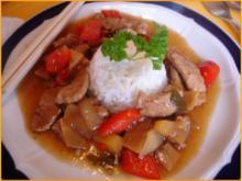 Schweinefilet im Wok mit Reis und Salat - Rezept