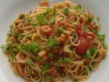 Spaghetti mit Kalmar und Erbsen - Rezept