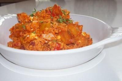Kartoffel-Eier-Pfanne mit Paprika und Feta - Rezept