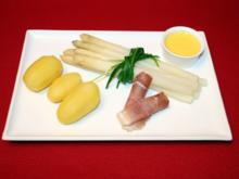 Stangenspargel mit Kartoffeln, dazu Norderneyer Meersalz-Schinken - Rezept