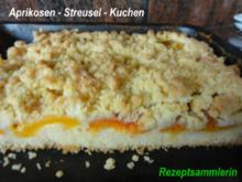Rührteig:   APRIKOSEN- STREUSEL-KUCHEN - Rezept