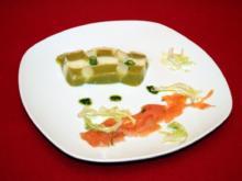 Terrine vom grünen und weißen Spargel, gebeizter Saibling, Wildkräuterpesto - Rezept