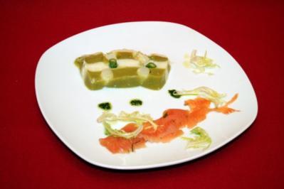 Rezept: Terrine vom grünen und weißen Spargel, gebeizter Saibling, Wildkräuterpesto