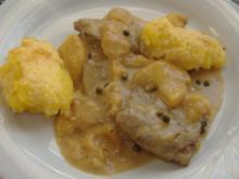 Kalbsleber mit Pfirsich und grünem Pfeffer - Rezept