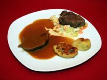 Zweierlei vom Rind mit Kartoffelwickel und Lauchgemüse - Rezept