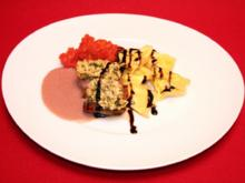 Lammrücken mit Mandel-Kräuter-Topping auf Tomatensugo und Trüffel-Tortellini - Rezept