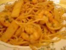 Spaghetti mit King Praws und Sprossen - Rezept