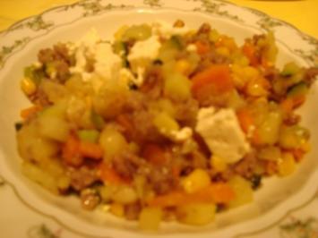 Bunte Gemüsepfanne mit Feta - Rezept