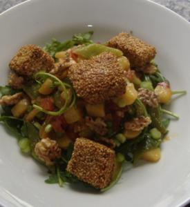 "Lachs im Wasabi-Sesam-Mantel mit Gemüsesalat "" Asia "" - Rezept"