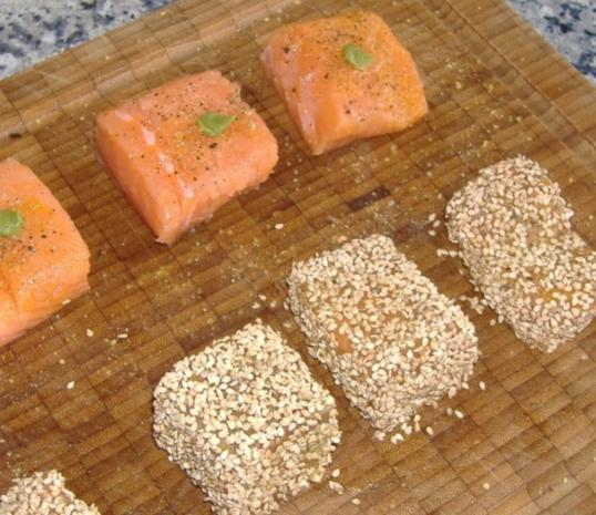 "Lachs im Wasabi-Sesam-Mantel mit Gemüsesalat "" Asia "" - Rezept - Bild Nr. 4"