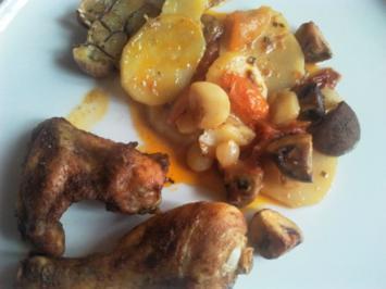 Hähnchenteile mit Tomaten und Pilzen - Rezept