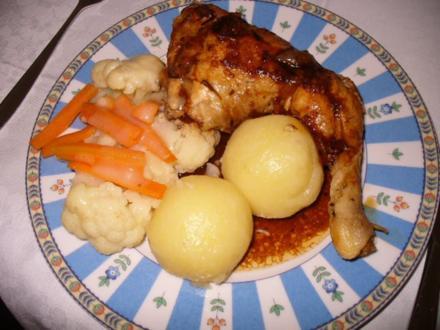 Hähnchenkeule mit Klößen - Rezept