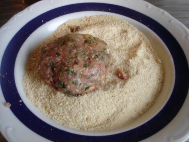 Minze-Salbei-Rosmarin-Buletten mit grünen Bohnen und Mais-Kartoffelpüree - Rezept - Bild Nr. 11