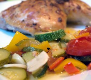 Ingwer-Huhn auf Gemüsebett - Rezept