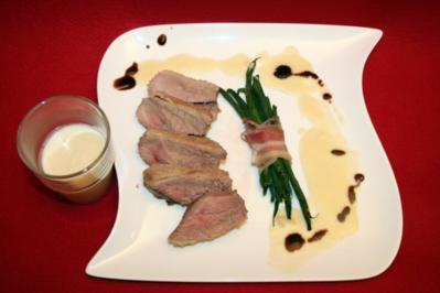 Knusprige Entenbrust mit Calvados-Soße - Rezept