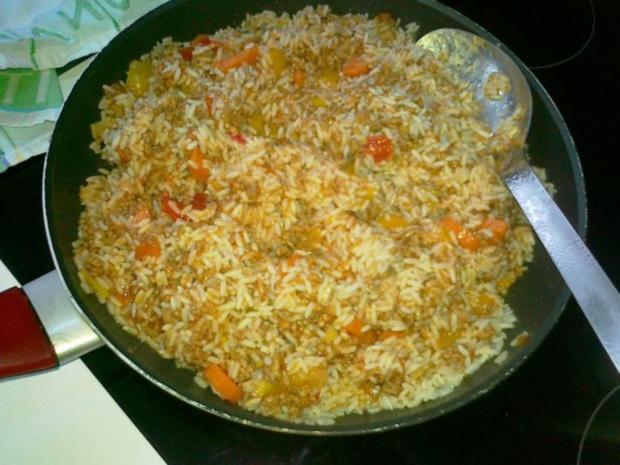Express-Reis-Pfanne mit Hack- und Gemüse - Rezept - Bild Nr. 3