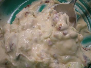 Rezept: Frischkäse: Tomaten, Zwiebeln und Sirup