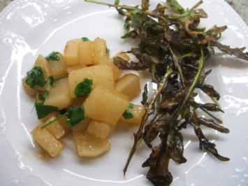 Gemüse: Rettichgemüse mit frittiertem Rucola - Rezept