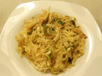 Pad Thai Gai (warmer) thailändischer Nudelsalat mit Huhn - Rezept