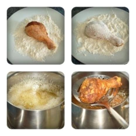 Knusprig frittierte Hähnchen – Unterkeulen mit Reis - Rezept - Bild Nr. 2