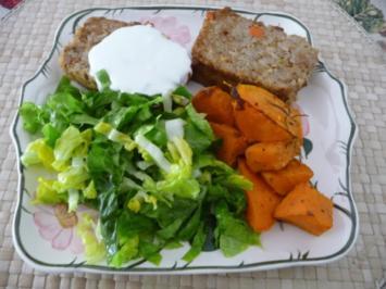 Hackfleisch : Reis-Hackbraten mit Rosmarinkartoffeln aus Süßkartoffeln und Salat - Rezept