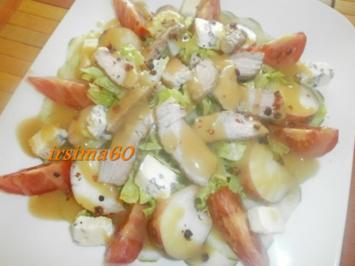 Fruchtiger  Salat mit Streifen vom Schweinefilet  und Cambozola - Rezept