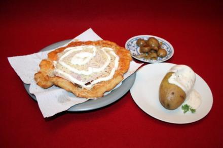 Langos, Backkartoffeln, Champignons - Rezept