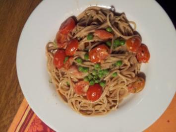 Vollkornspaghetti mit Tomaten - Rezept