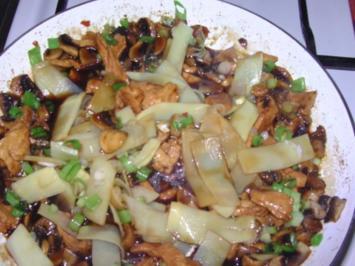 Huhn mit Champignons und Bambus - Rezept