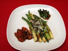 Warmer Salat vom grünen Spargel mit karamellisierten Tomaten - Rezept