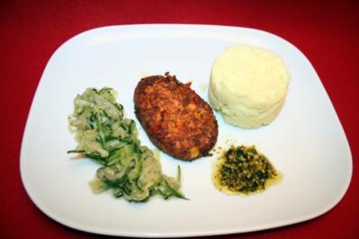 Rezept: Gebratenes Lammfilet  mit Zucchini  mit Pistazienpesto