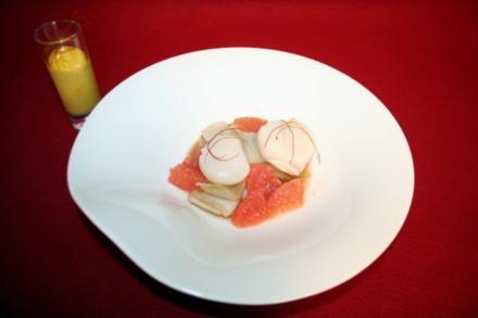 Jakobsmuschel, Chicorée, Grapefruit, Mango - Rezept