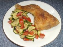 Hähnchenschenkel mit Zucchinigemüse - Rezept