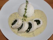 Hähnchenbrust mit Spinat-Feta-Füllung und Basmati-Reis - Rezept