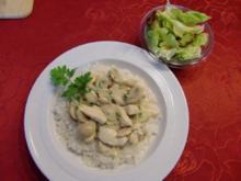 Geschnetzeltes mit Champignons auf ein Reisbett - Rezept