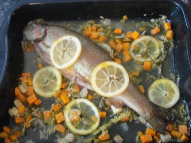 Lachsforelle mit Gemüse - Rezept